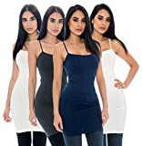 Unique Styles 4-Pack Ladies Long Camisole Spaghetti Strap Tank Top - Regular, Plus Sizes (Plus Size, Charcoal, Navy, White, Ivory)
