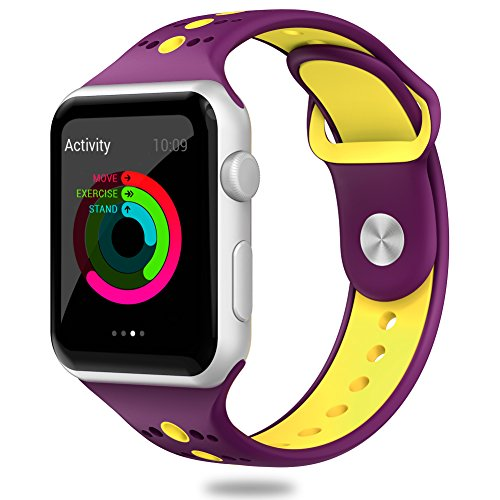 Comppatible for Apple Watch Band 42mm,Valband Soft Silicone Sport Band Strap Replacement iWatch Bands for Apple Watch Nike Series 3,Series 2,Series 1 (42mm, Purple/Yellow)