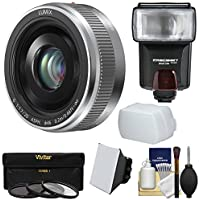 Panasonic Lumix G Vario 20mm f/1.7 II ASPH Lens (Silver) with 3 Filters + Flash & 2 Diffusers + Kit for G7, GF7, GH3, GH4, GM1, GM5, GX7, GX8 Camera