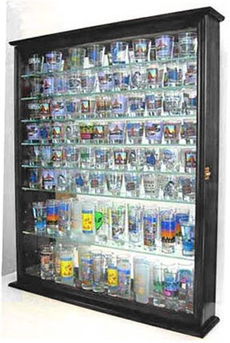 110 Shot Glass Display Case Shadow Box Wall Cabinet, Glass Door, Mirrored Back, SC09-BLA