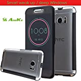 HTC 10 Case, Anoke [Not Wallet] [Shock Absorption] Smart Wake Up / Sleep Quick Ice View Window Case Translucent Silicone and Clear Hard PC Folio Dot View Cover Case For HTC 10 (DOT Black-1)