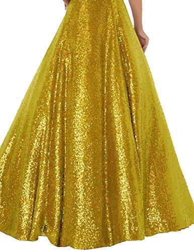 Oro Perline Da Rilievo Linea Fuori Abiti Donne Una Da Sera Paillettes Per Formale Vestito Le Spalla Senza Promenade Changuan Di Lungo RcqdBa7UB