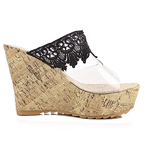 AIYOUMEI Damen Transparent Offen High Heels Plateau Keilabsatz Pantoletten mit Spitz Sandalen Schuhe Schwarz