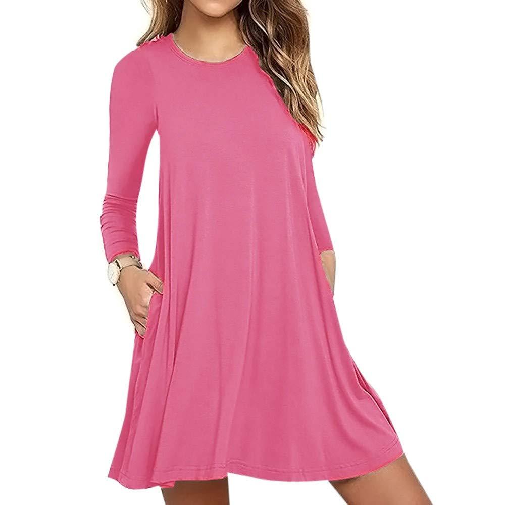 aiNMkm Women Dress,2019 Women's Solid Long Sleeve Pocket Casual Maxi Dresses Loose T-Shirt Dress Pink
