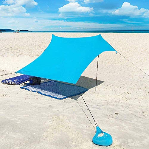 XIANGBAN Beach Tent with Sand Anchor - Portable Lightweight Portable Sunshade with 100% Lycra UV Protection Waterproof - 85 x 85'' Sun Shelter Canopy (Blue)