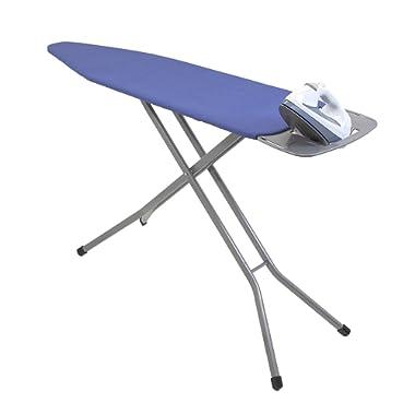 HOMZ Premium Heavy Duty Ironing Board, Platinum Superior Support Legs, Blue Cotton Cover