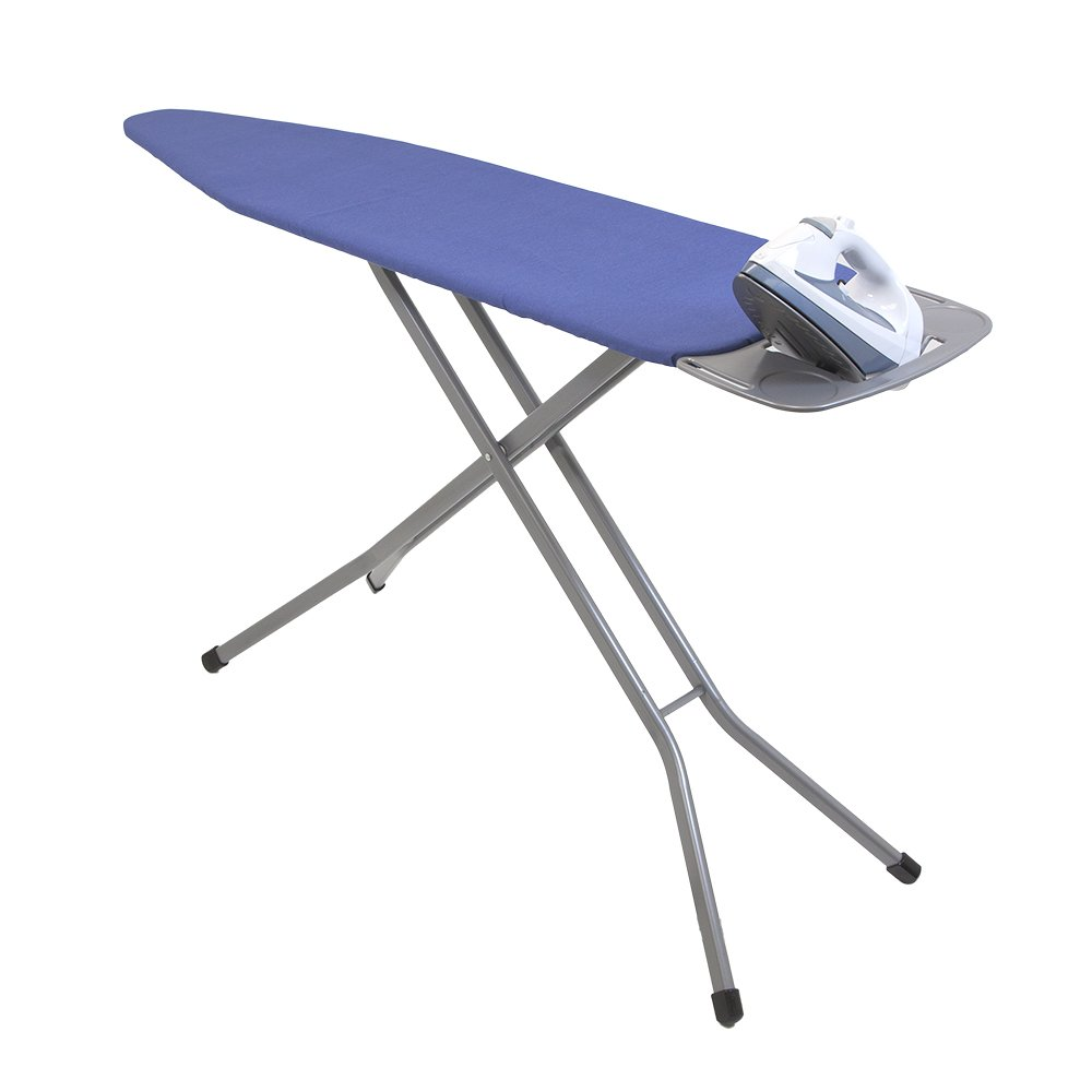 HOMZ Premium Heavy Duty Ironing Board, Platinum Superior Support Legs, Blue Cotton Cover