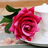 Yantu Artificial Silk Rose Flower Bouquet Wedding Party Home Decor, Pack of 10 (rose red)