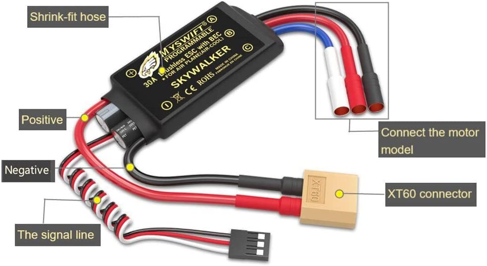 ESC 30A Brushless UBEC Electric Speed Controller 3A Skywalker with T Plug /& 3.5mm Bullet Plugs for RC Helicopter