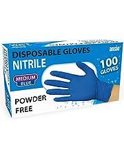 Nitrile Gloves Blue Powder free & disposable Medium Pack of 100