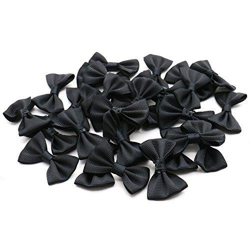 Rugjut 30pc DIY Satin Ribbon Mini Bow Tie Bows Ribbon Bows Mini Mixed Embellishment Craft Artificial Applique Wedding (Black) ()