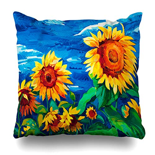(Ahawoso Throw Pillow Cover Orange Blue Sun Original Sunflowers On Canvas Modern Abstract Flower Brown Artistic Field Design Home Decor Cushion Case Square Size 16