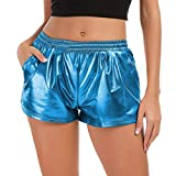 FarJing Women Fashion High Waist Yoga Sport Pants Leggings Metallic Shiny Pants Shorts (M,Blue