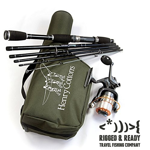 PREMIUM TRAVEL AND HOLIDAY FISHING ROD SET (DURABLE 6 FOOT 6 INCH 6 SECTION CARBON ROD, REEL AND 17 INCH CARRY CASE) Flight Poles