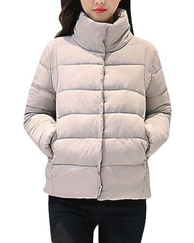 Manga Larga Cálido Corta Abrigo Acolchada De Chaqueta De Invierno Para Mujer Gris XL