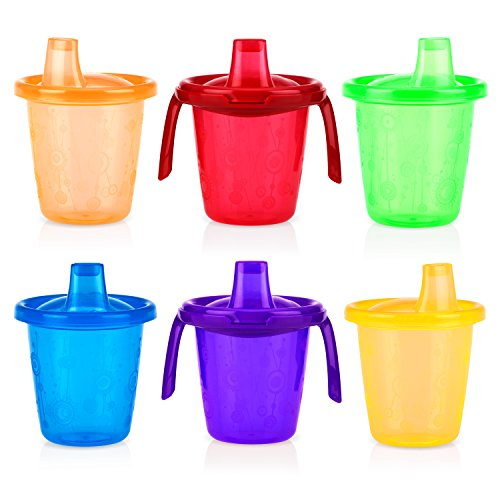(Nuby 6 Piece Twin Handle Trainer Cup Free Flow Wash or Toss,)