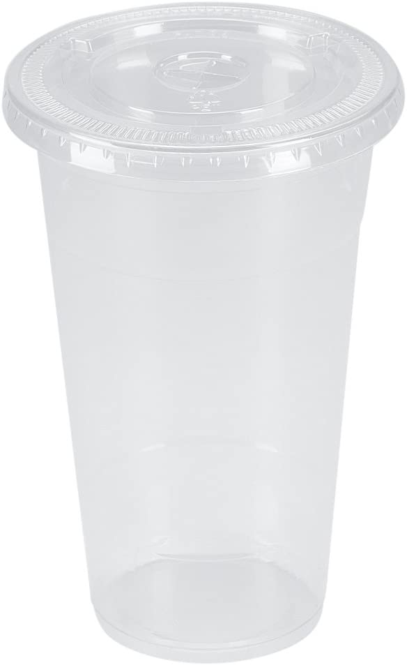 Belinlen 100 Sets 24 oz. Plastic CRYSTAL CLEAR Cups with Flat Lids for Cold Drinks, Iced Coffee, Bubble Boba, Tea, Smoothie etc.