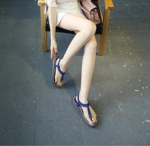 KHSKX-The Blue Summer Women Sandals Flat Bottom Soft Bottom Sandals Beach Sandals Female To Female 38 bZoFmnpSkj