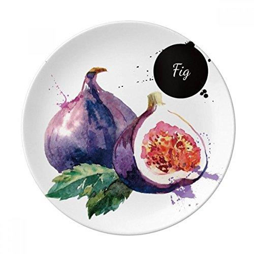 Fig Ceramics (Fig Fruit Tasty Healthy Watercolor Dessert Plate Decorative Porcelain 8 inch Dinner Home)
