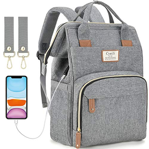affordable Diaper Bag Backpack with USB Charging Port and Stroller Straps, Maternity Nappy Bag with Insulated Feeding Bottle Pocket