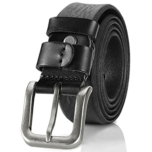 Lecxci Mens [Crazy-horse Real Leather] Waist Dress Belts with Single Prong Buckle (XX-Large(38