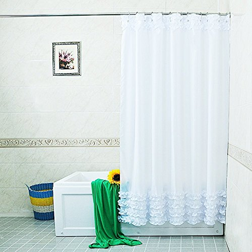 New Home Decoration Bathroom Shower Curtain Waterproof Moldproof Solid Polyester Fabric Lace Curtain With Hook Elegant - Glasses Test Face On My