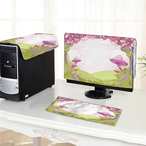 Computer Monitor Dust Cover 3 Pieces Cherry Blossom Trees in Fairytale Land Forest Surreal Fantasy Wonderland Image Green Pink Antistatic, Water Resistant /21