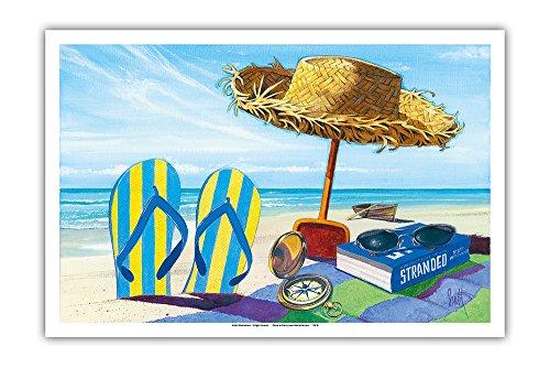Stranded - Beach Going Essentials: Book, Straw Hat, Sunglasses, Beach Towel, Flip Flops - From an Original Color Painting by Scott Westmoreland - Master Art Print - 12 x - Glasses Scott Sun