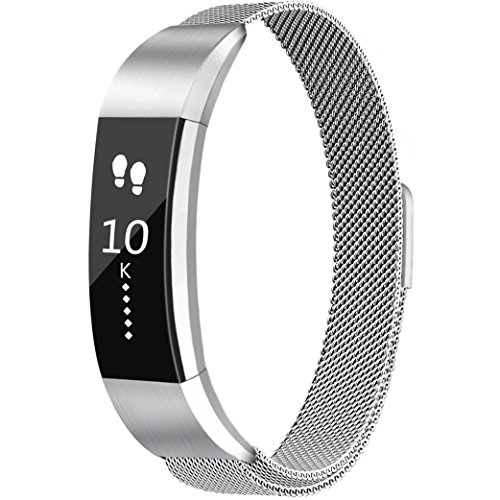 (Tobfit Compatible for Fitbit Alta Band (2 Size), Milanese Loop Mesh Smooth Stainless Steel Full Magnetic Closure Replacement Band Compatible for Fitbit Alta/Fitbit Alta HR, Silver, Large)