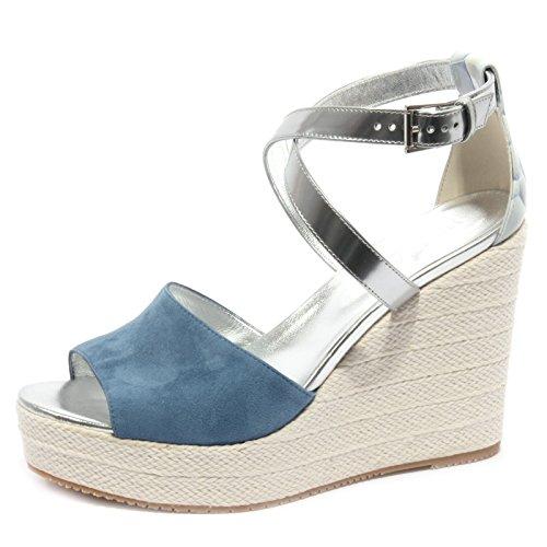 B1375 sandalo donna HOGAN ZEPPA blu/argento shoe sandal woman blu/argento