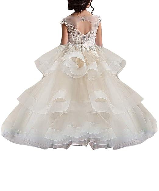 ddac5bb46 WDE Vestido Largo para niñas pequeñas para Boda niños Primera Comunión Prom  Ball Gown
