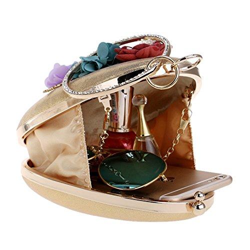 de sac Bohème Ronde à Diamants Style Embrayage Bag Femmes TuTu Girl gold Sacs Chain Fashion sac main de Soirée Petit soirée Fleur Shell aO6xqxwpS