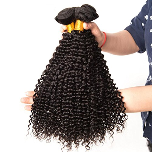 Shireen 10A Brazilian Curly Hair Weave 3 Bundles (20 22 24,300g) Virgin Kinky Curly Human Hair Weave 100% Unprocessed Hair Weft Extensions Natural Black Color by Shireen Hair (Image #2)