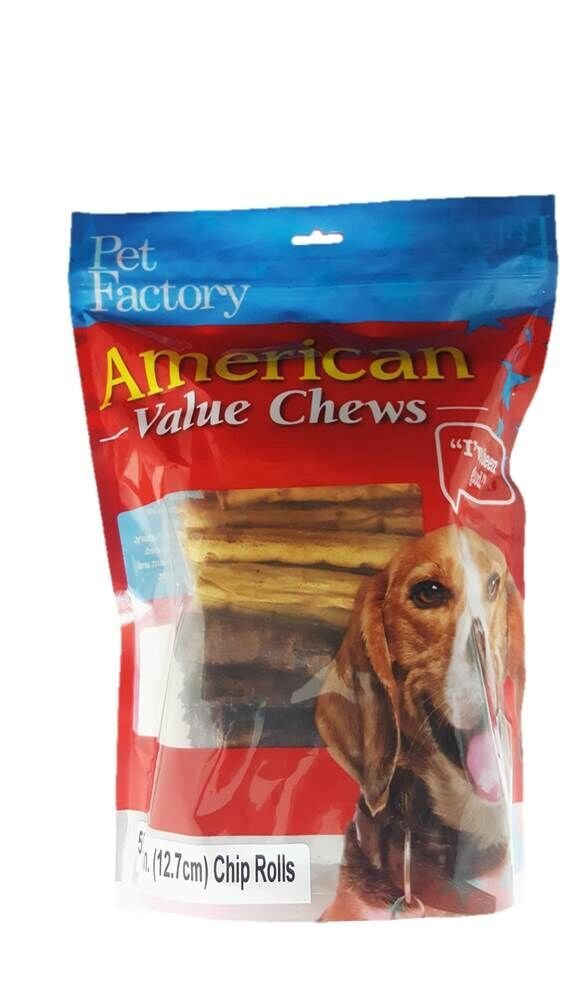 Pet Factory American Value Chews 28259 5'' Rawhide Chip Rolls for Dogs Assorted Flavors (Beef & Chicken) 50 Pack of Rawhide Treats