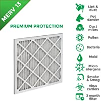 10x20x1 MERV 13 (MPR 2200) Pleated AC Furnace Air Filters. 4 Pack