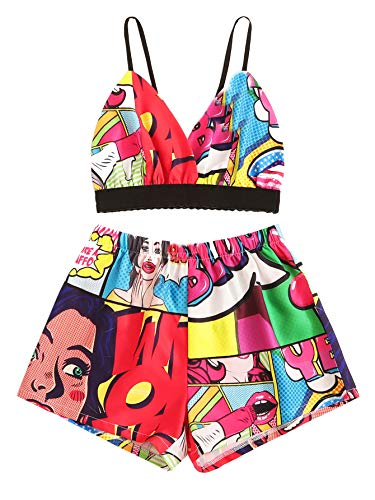 MAKEMECHIC Two Piece Outfits for Women's Cute Summer Crop Cami Top with Shorts Romper Sets Cartoon Small
