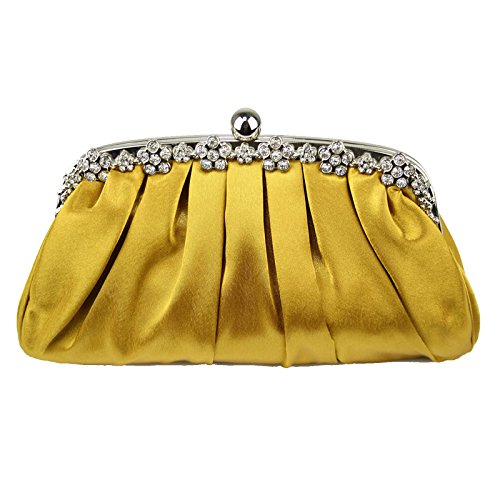 Floral Gold Prom Evening Design Satin Bridesmaid Clutch Handbag 1 Party Bridal Diamante Designer Bags Purse Women Ladies YaHzP6qwx