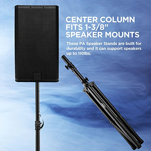Pa Speaker Stands Pair Pro Adjustable Height with 50 Cable Ties Kit To Secure Cable to stand (2 Stands) 6ft Tripod Speaker stands by Starument - Image 2