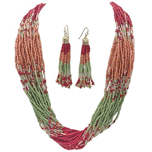 Multi Row Layered Seed Bead Statement Necklace and Dangle Earring Set (Red Peach Mint Green) (Wood Peach Beads)