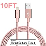 iphone charger, GOOLEEN 10ft/3M Lightning Cable Nylon Braided Charging Cable Extra Long USB Syncing Cord for iphone 7/7plus, se, 6s,6s plus,6plus, iPad Mini, Air,iPad5,iPod 7 on iOS9 - Rose Gold