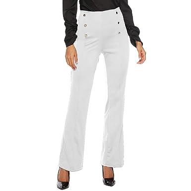 65e2f19a48d7 WUDUBE Pantalon à Pont Taille Haute