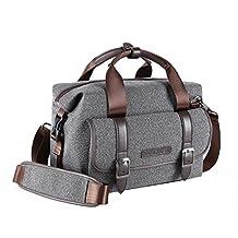 K&F Concept DSLR SLR Camera Shoulder Messenger Bag Laptop Case for Canon Nikon Sony DSLR Camera and other Accessories-Grey