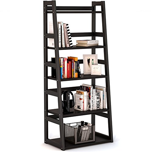 Tribesigns 5-Tier Bookshelf, Free Standing Ladder Shelf with Strong Metal Frame, Ample Space for Storage (black) - Heavy Duty Steel Bookcase