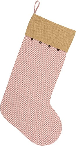Piper Classics Red Check & Burlap Christmas Stocking w/Jingle Bells, 12'' x 20'', Country Farmhouse Holiday Décor by Piper Classics (Image #2)