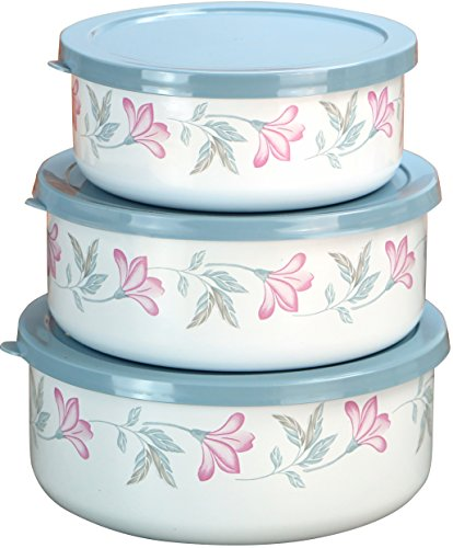 (Corelle Coordinates by Reston Lloyd 6-Piece Enamel on Steel Bowl/Storage Set, Pink Trio)