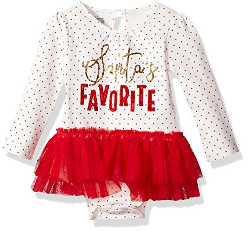 Mud Pie Baby Girls' Santa's Favorite Skirted Mesh Tutu Long Sleeve Crawler, Red, 3-6 MOS - Mud Pie Santa