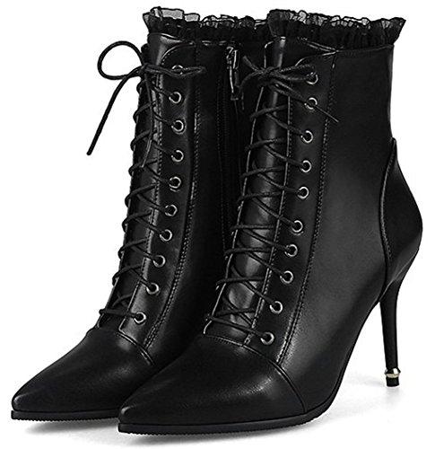 Idifu Kvinna Elegant Spetsig Tå Zip Högt Stilett Klack Boots Svart
