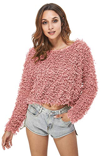 - Carprinass Women's Loose Fit Classic Long Sleeved Short Crop Pink Sweater S