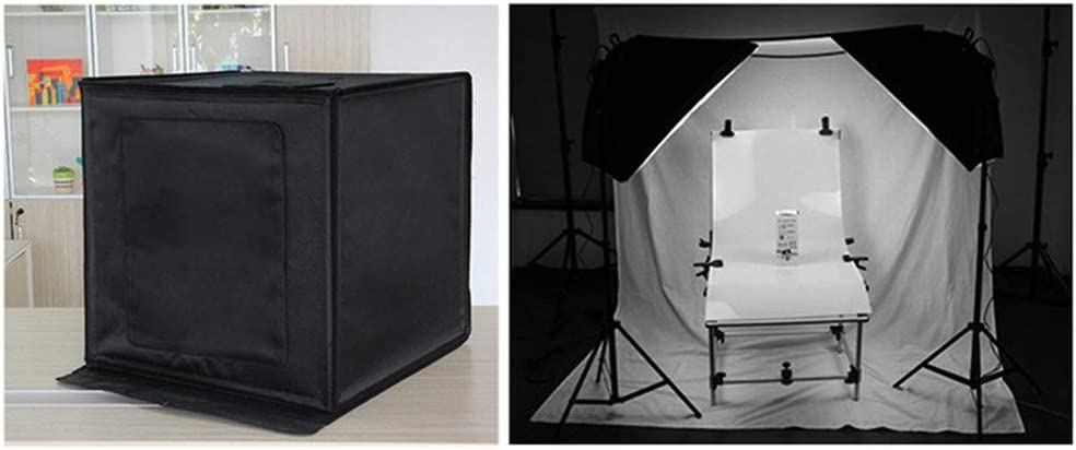 FeliciaJuan-Home 40CM Shooting Tent Folding Studio LED Highlighting Professional Photo Softbox with 6 Color Background Cloth Color : Black, Size : 40x40x40cm