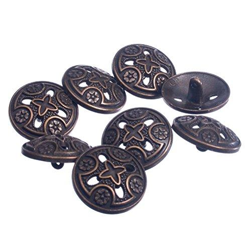 Zinc Diecasted Metal Shank Button - Medieval Templar Cross Design - 36 Line - Antique Brass